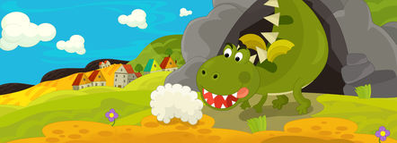 Cartoon illustration - green dragon Royalty Free Stock Photography