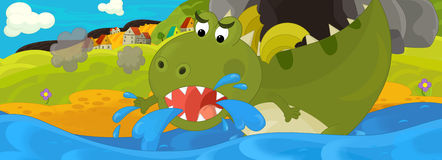 Cartoon illustration - green dragon Royalty Free Stock Photos