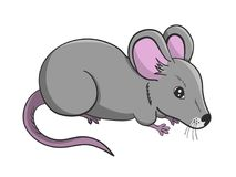 Cartoon illustration of grey cute mouse Stock Image