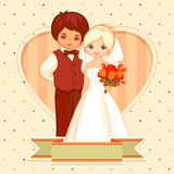 Cartoon illustration of the groom and bride. Wedding cartoon illustration of the groom and bride Stock Images