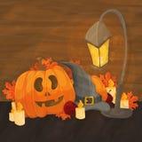 Cartoon illustration for halloween - hat, lantern, pumpkin on bright background Royalty Free Stock Images
