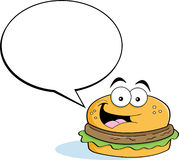 Cartoon hamburger with a caption balloon Stock Image