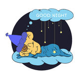Cartoon illustration of hand drawing sleeping baby wishing good night  in the starry sky. Vector illustration Royalty Free Stock Photo