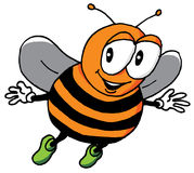 Cartoon Illustration of a Happy Bee Stock Photography