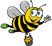 Cartoon Illustration of a Happy Bee Royalty Free Stock Image
