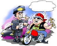 Cartoon illustration of a happy biker there must have a speeding ticket. Cartoon illustration of an happy biker there must have a speeding ticket Royalty Free Stock Photo