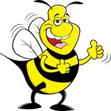 Cartoon happy bumble bee giving thumbs up. Cartoon illustration of a happy bumble bee giving thumbs up royalty free illustration