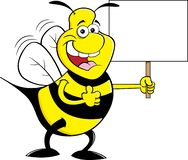 Cartoon happy bumble bee giving thumbs up while holding a sign. Cartoon illustration of a happy bumble bee giving thumbs up while holding a sign royalty free illustration