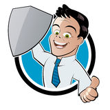 Happy businessman with shield Royalty Free Stock Image