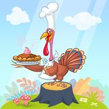 Cartoon illustration of a happy cute turkey wearing a cook hat and standing.   Royalty Free Stock Images