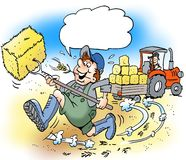 Cartoon illustration of A happy farmer with big boots Stock Image