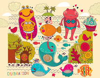 Cartoon illustration with happy frogs. On the rest Stock Photos