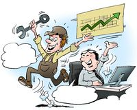 Cartoon illustration of a happy manager and mechanic Stock Image