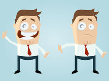 Thumbs up and thumbs down. Cartoon illustration of happy and sad businessman with thumb up and down Stock Images
