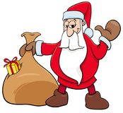 Santa Claus Christmas character with sack. Cartoon Illustration of Happy Santa Claus Christmas Character with Sack of Gifts Stock Photos