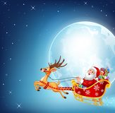 Cartoon illustration of happy Santa in his Christmas sled being pulled by reindeer Royalty Free Stock Images