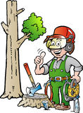 Cartoon illustration of a Happy Working Lumberjack or Woodcutter giving Thumb Up Royalty Free Stock Images