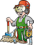 Cartoon illustration of a Happy Working Lumberjack or Woodcutter Royalty Free Stock Photo