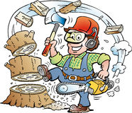 Cartoon illustration of a Happy Working Lumberjack or Woodcutter who chrop Wood Royalty Free Stock Photo