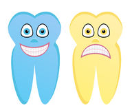 Cartoon illustration of healthy tooth and rotten tooth. Vector cartoon illustration of healthy blue tooth and rotten yellow tooth with characters and properties Stock Image