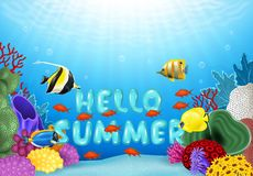 Cartoon illustration of Hello Summer with Tropical fish. Illustration of Hello Summer with Tropical fish Royalty Free Stock Image