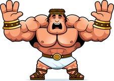 Cartoon Hercules Scared. A cartoon illustration of Hercules looking scared Royalty Free Stock Photo