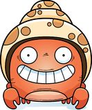 Happy Little Hermit Crab. A cartoon illustration of a hermit crab looking happy Royalty Free Stock Photo