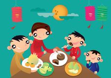 A Hong Kong family enjoys their family time and shares the festive foods in Chinese Lantern festival. Cartoon illustration of a Hong Kong family enjoys their royalty free illustration