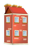 Cartoon illustration of house - block of flats -. Happy and colorful traditional illustration for children Stock Photography