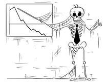 Cartoon Illustration of Human Skeleton of Dead Businessman Point stock illustration