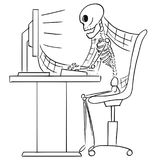 Cartoon Illustration of Human Skeleton of Dead Businessman Sitting in Front of Computer in Office royalty free illustration