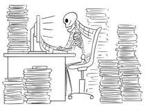 Cartoon Illustration of Human Skeleton of Dead Businessman Sitting in Front of Computer in Office Full of Files. Cartoon vector illustration of forgotten human stock illustration