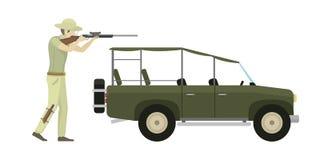 Cartoon illustration of hunter aiming rifle vector character. Stock Image
