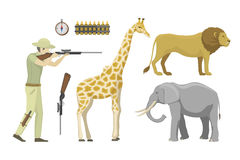 Cartoon illustration of hunter aiming rifle vector character. Stock Images