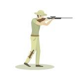 Cartoon illustration of hunter aiming rifle vector character. Stock Photos