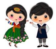 Korean couple costumes. Cartoon illustration isolated of korean couple national traditional costumes stock illustration