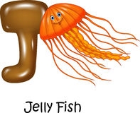 Cartoon illustration of J Letter for Jelly fish Stock Photos