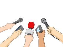 Cartoon Illustration of Journalists Stock Images