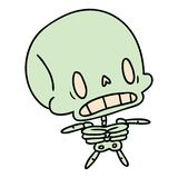 Cartoon illustration kawaii cute dead skeleton. A creative cartoon kawaii cute dead skeleton royalty free illustration