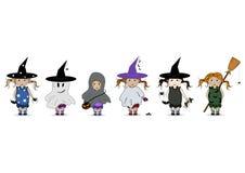 Cartoon Hand Drawn Illustration of a Happy Halloween. Chi Royalty Free Stock Photos
