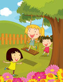 Cartoon illustration of kids in the park Royalty Free Stock Photography