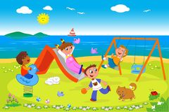 Playground at the seaside vector Royalty Free Stock Photo