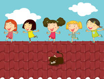 Cartoon illustration of kids on the roof Royalty Free Stock Photos