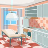 Cartoon illustration of a kitchen interior. With kitchen cabinets, a dining table with a cup of hot coffee or tea, a refrigerator, a cooker, a kitchen hood Stock Images