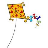 Cartoon illustration of a kite. Royalty Free Stock Image