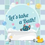 Cartoon illustration of a kitten taking a bath Stock Photo