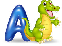 Cartoon illustration of A letter for Alligator. Illustration of A letter for Alligator Royalty Free Stock Images