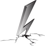 Cartoon illustration of lightning hit and split the ground. Vector cartoon black and white illustration of lightning hit and split the ground isolated from Stock Photos