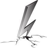 Cartoon illustration of lightning hit and split the ground. royalty free illustration