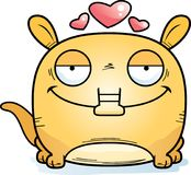 Cartoon Aardvark Love. A cartoon illustration of a little aardvark with an in love expression Royalty Free Stock Images